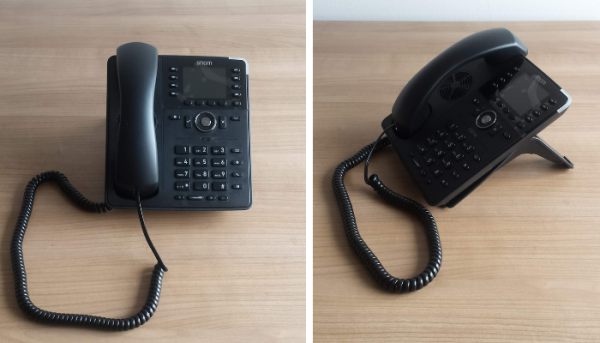 Snom D735 IP phone on footstand